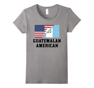 Women's Flags of Guatemala And USA Guatemalan American T-Shirt Medium Slate