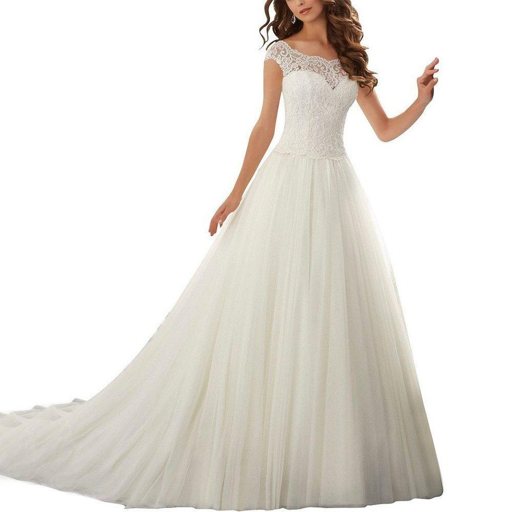 Online Store Abaowedding Womens A Line Lace Cap Sleeve Court Train