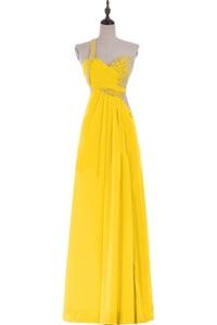 Gorgeous Bridal One Shoulder Chiffon Evening Prom Dress Split Waist A-line- US Size 6