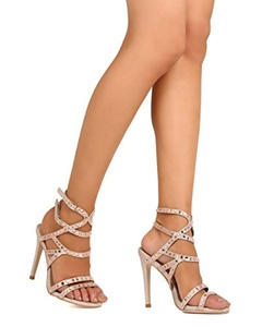DbDk FE42 Women Glitter Leatherette Open Toe Rhinestone Strappy Stiletto Sandal - Gold