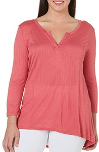 Eyeshadow Junior Plus Lace Back Knit Top 2X Pink