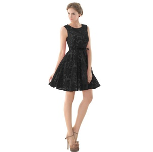 Aurora Bridal 2016 Women Bridesmaids Short Prom Gown Floral Lace Dresses Black 14