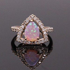 Fashion Engagement Ring 925 Sterling Silver Pink Opal Ring Jewelry for Women (Ring Size 7)