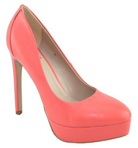 Speed 98 Women Stiletto Heel Classic Pumps Platform Pointy Toe KWAN Pink Red Coral 10