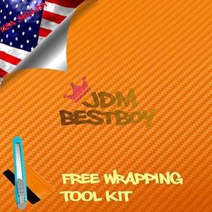 Free Tool Kit EZAUTOWRAP 3D Orange Carbon Fiber Textured Car Vinyl Wrap Sticker Decal Film Sheet - 12
