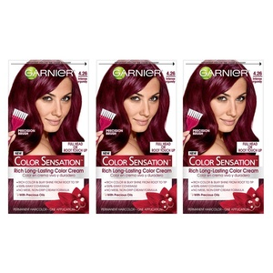 Garnier Hair Color Sensation Rich Long-Lasting Color Cream, 4.26 Intense Burgundy, 3 Count