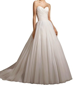 YinWen Women's Sweetheart Tulle A Line Backless Strapless Sleeveless Beach Wedding Dress Bridal Gown White Size 10 US