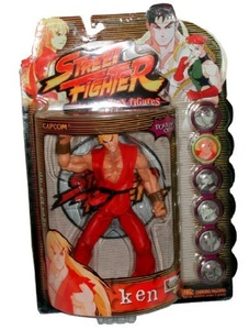 Resaurus Year 1999 Capcom Street Fighter Alpha 3 Round 1 Series 7 Inch Tall Action Figure - Player One Red Outifit KEN with Display Stands by Street Fighter