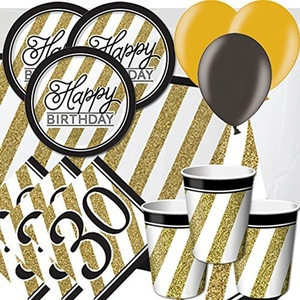 Black & Gold 30th Birthday Party Pack for 8 - Plates, Cups, Napkins, Balloons and Tablecover by Signature Balloons