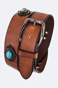 Chic Chelsea Bejeweled Vintage Leather Fashion Belt (Brown)
