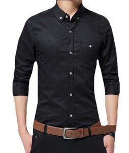 Oberora Men's Fashion Solid Color Slim Fit Long Sleeve Dress Shirt Black XL