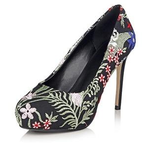 VASHOP Women's Platform Embroidery Patterned High Heel Round Toe Dress Pump Shoes,Black/4.5