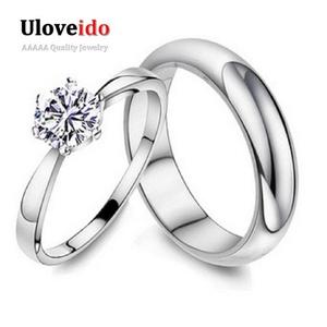 Slyq Jewelry Men's Ring White Zircon Wedding Couple Ring for Men and Women Fashion Jewelry J063