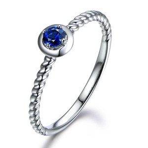 Round Cut Blue Sapphire Engagement Ring,14K White Gold Wedding Ring,Simple Promise Band,4 Prong