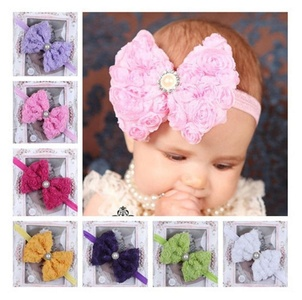 Baby Girl Kids Toddler Big Rose Pearl Bowknot Headband Hair Bow Accessories