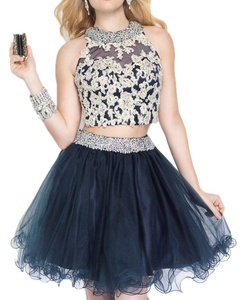 BlingblingDress Two Piece Short Prom dresses Lace Appliqued Homecoming Gowns