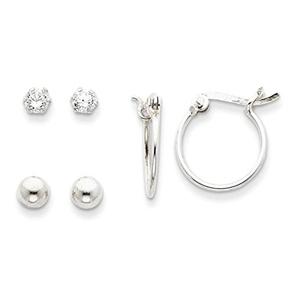 .925 Sterling Silver 5 MM CZ, Bead & Hoop Earrings Set