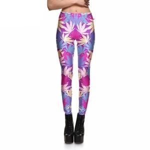 Women Colorful Leaf Print Leggings (Medium Size)