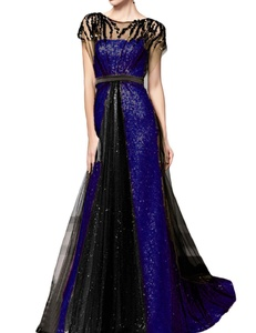 Favors Women's Sequin A Line Long Evening Dress with Sleeve Formal Gown Royal Blue 22W