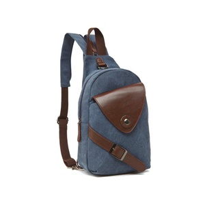 PiuPiu Men's Outdoor Canvas Sling Bag Shoulder Bag Chest Bag Backpack Rucksack (blue)