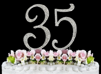 Rhinestone Cake Topper Number 35 by other
