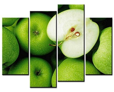 Fingertip Art Wall Art Paintings - 4 Pieces Decor Art of Grenn Apples Painting - The pictures Print on Canvas for Modern Home Decor Decoration