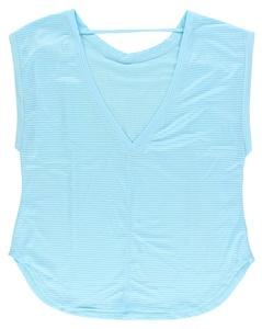 Studio Capezio Womens Amandine Short Sleeve Shirt Sky Blue XS