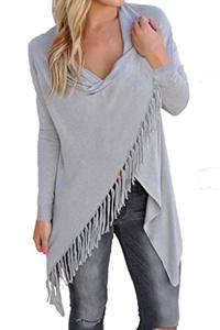Chase Secret Womens Long Sleeve Wrapped Blouse Tassel Slash Shirt Tops