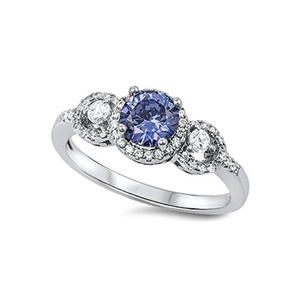 Halo 3 Stone Wedding Engagement Bridal Ring Round Simulated Blue Tanzanite Round CZ 925 Sterling Silver
