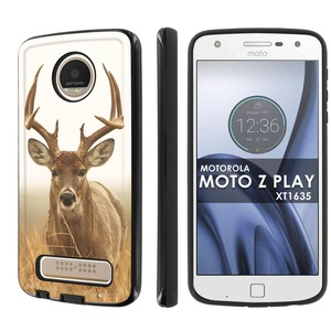 Moto Z Play [SlickCandy] Dual Layer Protection Shock Proof [Phone Case] - [Deer Stare] for Motorola Moto [Z Play] Droid