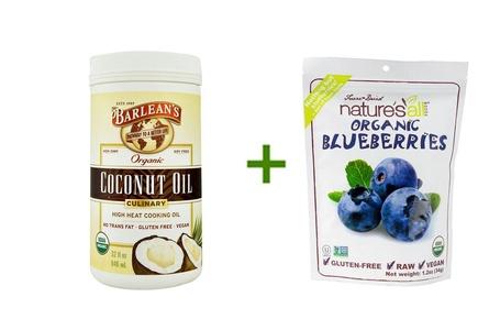 Barlean's Organic Culinary Coconut Oil -- 32 fl oz, ( 2 PACK ), Nature's All Foods Organic Freeze-Dried Raw Blueberries -- 1.2 oz