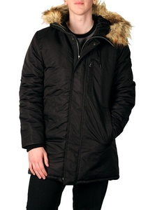 Sean John Men's Hooded Parka with Faux Fur Trim, Black, Size Small