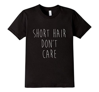 Kids Short Hair Don't Care Tee Shirt Women 10 Black