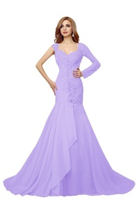 Bess Bridal Women's Beaded Lace Mermaid Backless Sheer Prom Evening Dresses US20W Lilac