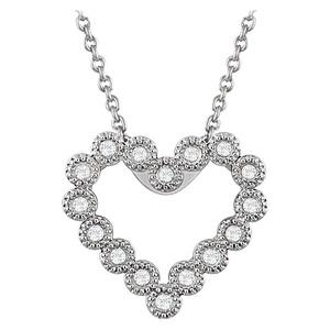 14kt White 1/8 CTW Diamond Heart 18