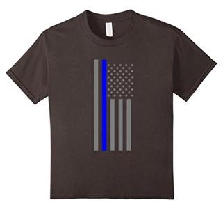 Kids Thin Blue Line US Flag Tee shirt 6 Asphalt