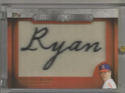 2012 Topps Baseball Nolan Ryan Historical Stitches Commemorative Patch Card