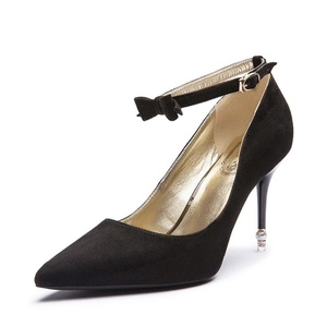Lady pointed shoes/Stiletto heels/Nubuck leather bow shoes-A Foot length=23.3CM(9.2Inch)