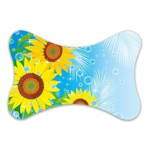 Custom Bone Shape Memory Foam Head Rest Car Neck Pillow Sunflowers and Water (Only One)