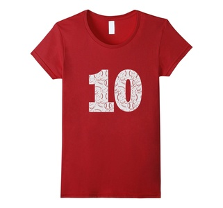 Women's T Shirt With The Number 10 Small Cranberry