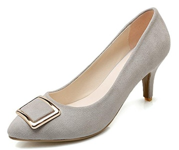Sfnld Women's Elegant Pointed Toe Buckle Slip On Medium Stiletto Heel Pumps Shoes Gray 7 B(M) US