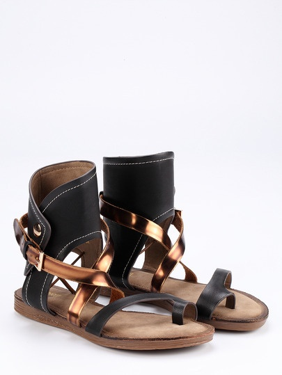 Buckle Strap Flat Sandals in Black