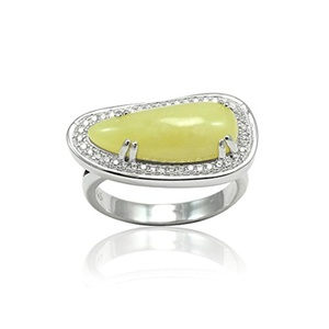 Halo Wedding Engagement Ring Fancy Cut Special Cut Simulated Lemon Jasper Round CZ 925 Sterling Silver