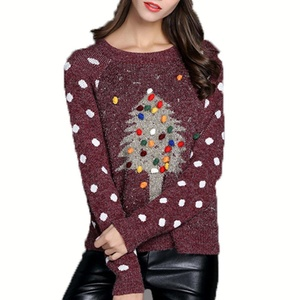 Annisking Womens Christmas Sweater Xmas tree Jumper Pullover Crew Neck Red -5A04