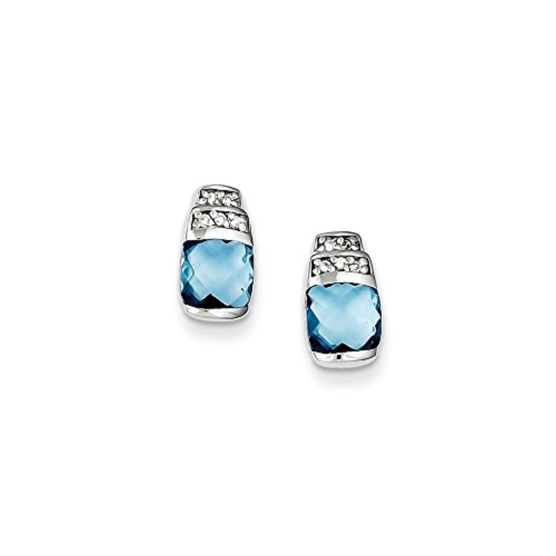 .925 Sterling Silver 10 MM Blue & Clear CZ Post Stud Earrings