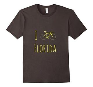 Men's Bike Florida T-Shirt, Cyclist Tee, State Shape Bicycle Shirt 2XL Asphalt