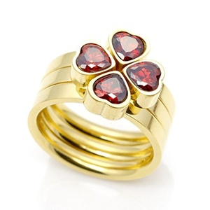 Dudee Jewelry Classic Designer 3 Round Heart Ring CZ Paved Engagement Finger Ring Sets Gold Crystal Wedding Jewelry