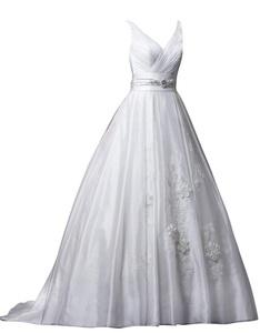 Rachel Weisz Women's Sexy V Neck Belt Beading Appliques Wedding Dresses Bride Evening Ball Gown Ivory US4