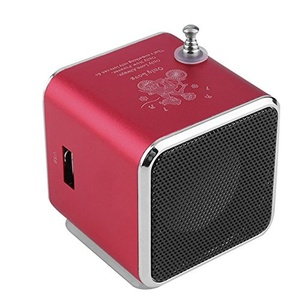 Portable Speaker Micro USB Mini Stereo Super Bass Aluminum alloy Speakers Music MP3/4 FM Radio Built-in rechargeable battery-Red