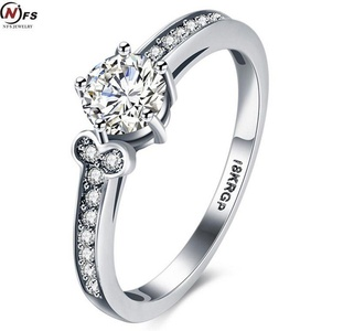 Cherryn Jewelry 0.2CT Zircon Crystal Fashion Platinum Plated CZ Jewelry Wedding Ring white Gold Plated Charming Women